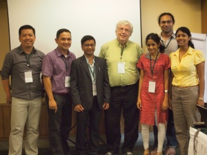 Michael Canares, with some of the participants in the India Meet. Dr. Michael Gurstein (middle, in green polo) is one of the mentors of the project.